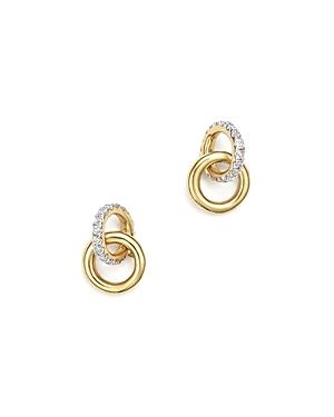 Adina Reyter 14K Yellow Gold Pave Diamond Interlocking Loop Stud Earrings