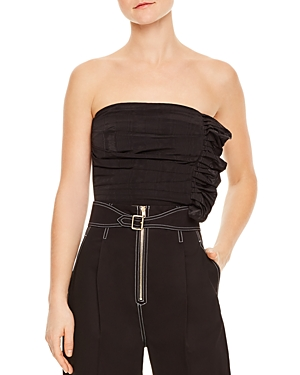 Sandro Britany Strapless Ruched Cropped Top