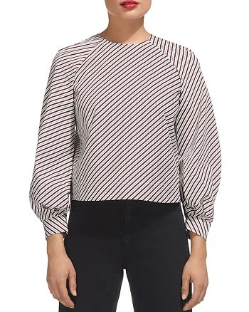 Whistles - Striped Balloon-Sleeve Top
