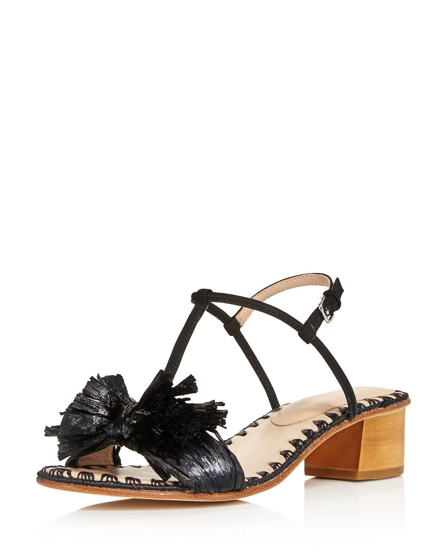 Pour La Victoire Women's Julie Nubuck Leather & Raffia T-Strap Block Heel Sandals 8zMTC