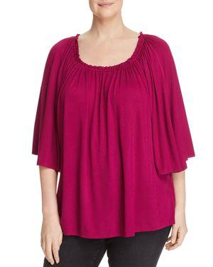 Cupio Plus Shirred Flare-Sleeve Top - 100% Exclusive