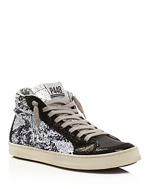 P448 Women's Skate Bs Sequined Leather High Top Sneakers