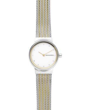 Women'S Freja Two-Tone Stainless Steel Mesh Bracelet Watch 26Mm in Silver/ White/ Gold