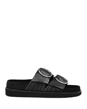 ALLSAINTS - Women's Zuri Leather Buckled Slide Sandals