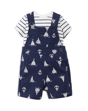 Little Me - Boys' Striped Tee & Nautical Knit Overalls - Baby