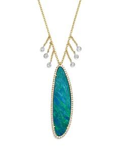 "Meira T - 14K White & Yellow Gold Dark Opal & Dangling Diamond Pendant Necklace, 16"""