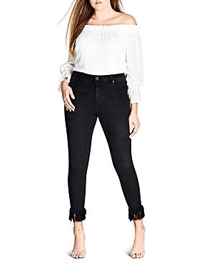 City Chic Harley Frayed Skinny Jeans in Black