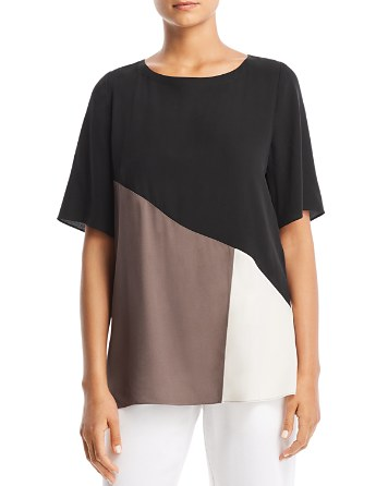 Eileen Fisher Petites Silk Color Block Top