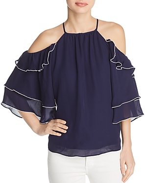 Parker Cindy Cold-Shoulder Silk Top