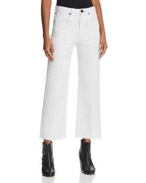 Justine High-Rise Wide-Leg Ankle Button Fly Raw Hem Jeans in White