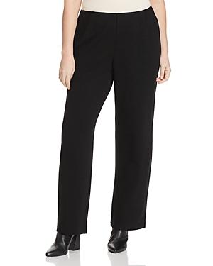 New Eileen Fisher Plus Straight-Leg Pants, Black
