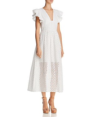 Endless Rose Eyelet Fit-and-Flare Midi Dress