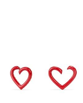 David Yurman - Cable Heart Earrings in Red Enamel & 18K Gold