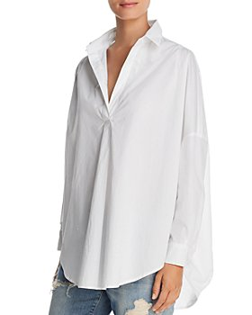 FRENCH CONNECTION - Rhodes Oversize V-Neck Poplin Shirt