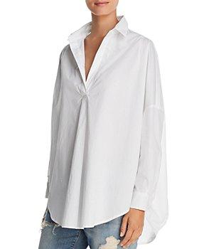 FRENCH CONNECTION - Rhodes Oversize V-Neck Poplin Shirt