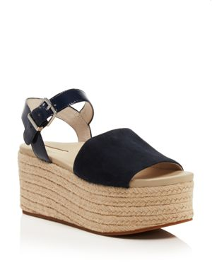 WOMEN'S INDRA SUEDE & PATENT LEATHER PLATFORM ESPADRILLE WEDGE SANDALS