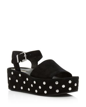 WOMEN'S DANTON STUDDED SUEDE PLATFORM WEDGE SANDALS
