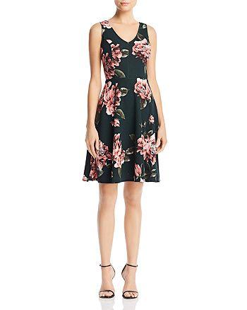 AQUA - Floral Print V-Back Dress - 100% Exclusive