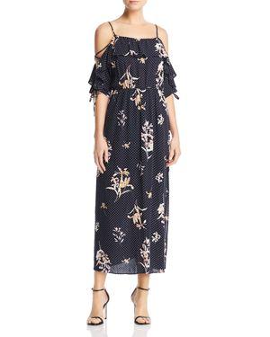 Aqua Polka Dot Cold-Shoulder Maxi Dress - 100% Exclusive 2861268