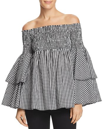 AQUA - Gingham Bell Sleeve Off-the-Shoulder Top - 100% Exclusive