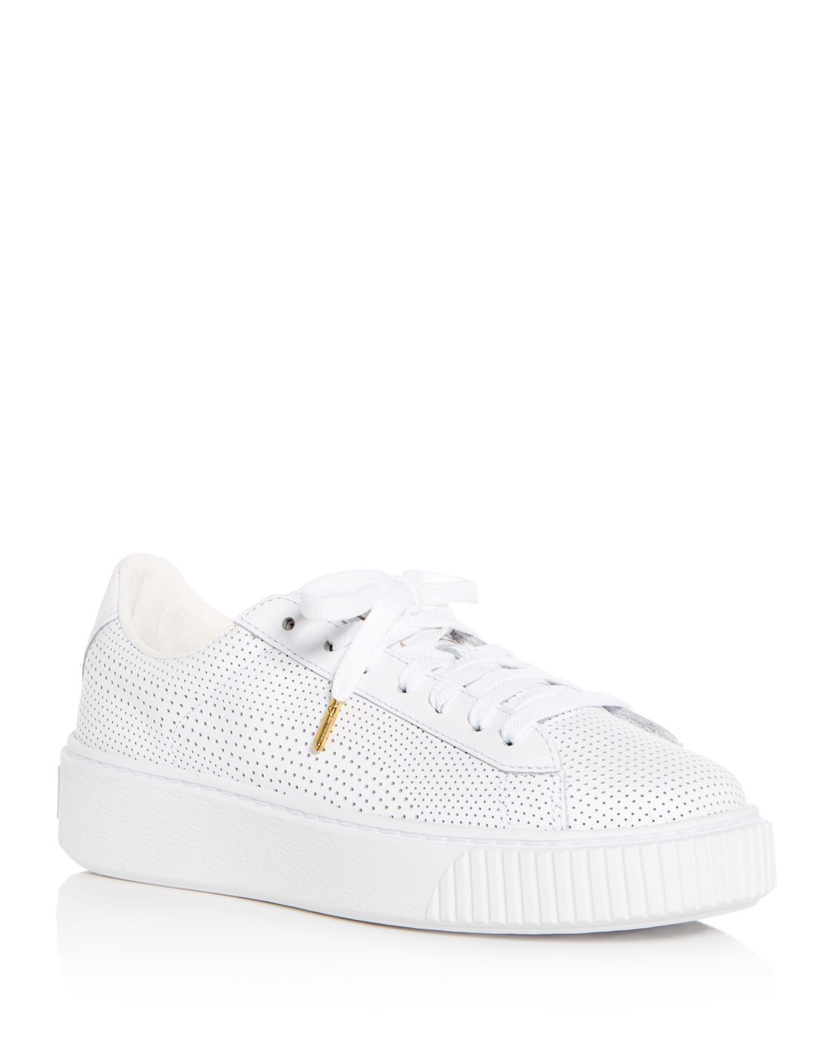 Puma Women's Basket Perforated Leather Lace Up Platform Sneakers