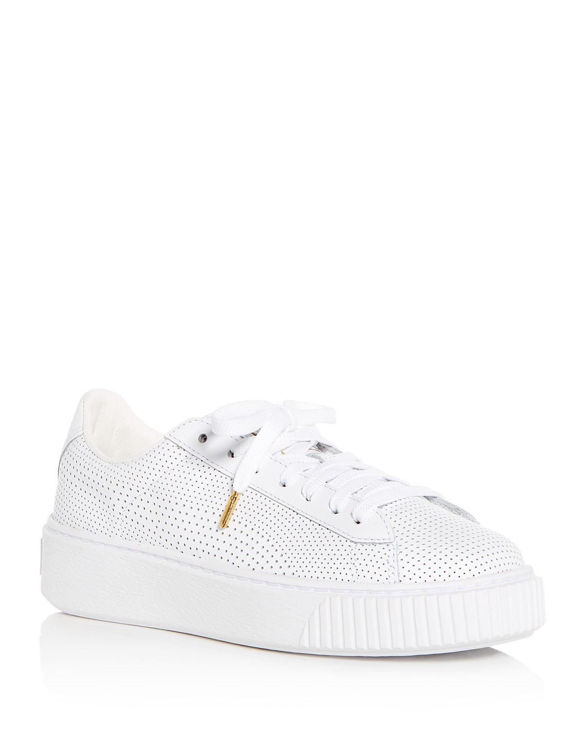 Puma Women's Basket Perforated Leather Lace Up Platform Sneakers jKq1vkt