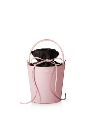 MATEO Madeline Leather Bucket Bag in Cameo Pink/Gold