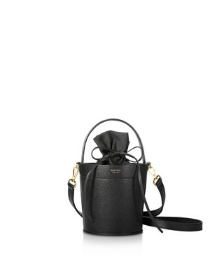 MATEO Madeline Leather Bucket Bag in Noir