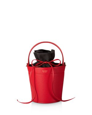 MATEO Madeline Leather Bucket Bag in Rouge Red/Gold