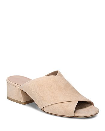 Vince - Women's Karsen Suede Block Heel Slide Sandals