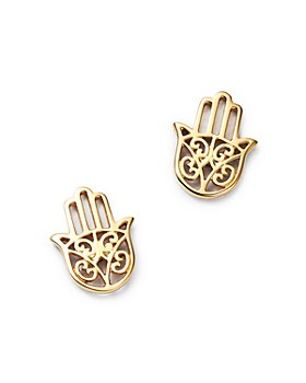 Moon & Meadow - Hamsa Hand Stud Earrings in 14K Yellow Gold - 100% Exclusive