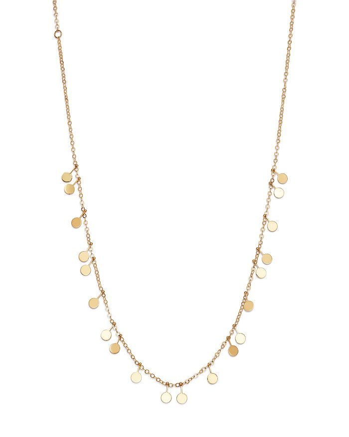 "Moon & Meadow - Dangling Disc Front Necklace in 14K Yellow Gold, 16"" - 100% Exclusive"