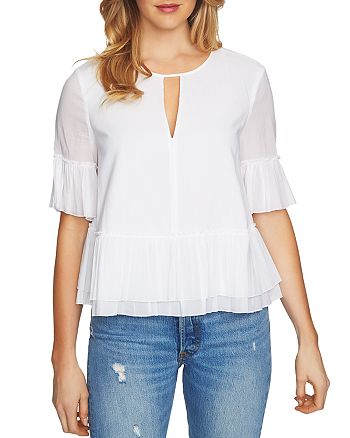 1.STATE - Tiered Ruffle Keyhole Top
