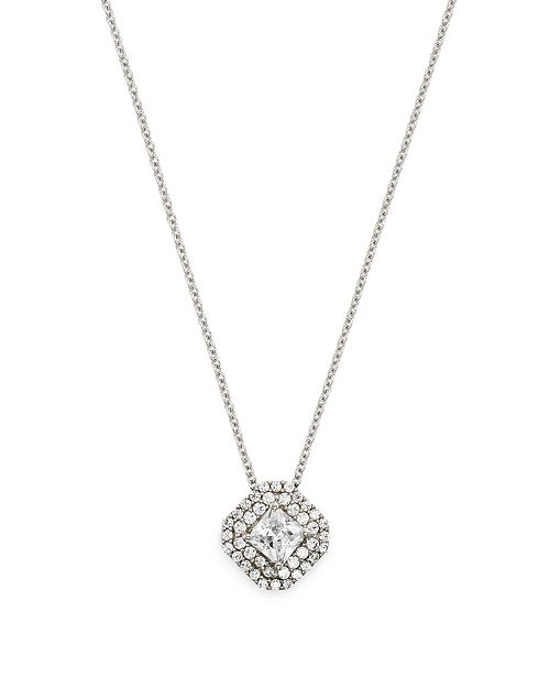 Bloomingdale's - Diamond Halo Pendant Necklace in 14K White Gold 0.40 ct. t.w. - 0.75 ct. t.w. - 100% Exclusive