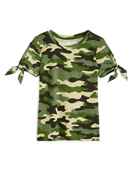 AQUA - Girls' Tie-Sleeve Camo Tee, Big Kid - 100% Exclusive
