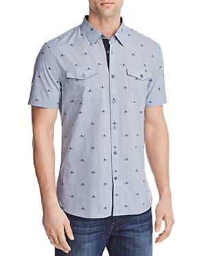 New John Varvatos Star Usa Skulls Regular Fit Button-Down Shirt, Lake Blue