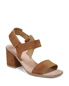 Via Spiga - Women's Kamille Suede Block Heel Ankle Strap Sandals