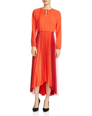 Maje Reona Color-Blocked Pleated Midi Dress