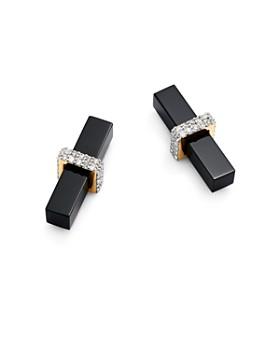 MATEO - 14K Yellow Gold Onyx & Diamond Bar Stud Earrings
