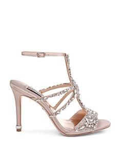 Badgley Mischka - Women's Hughes Embellished Satin T-Strap High-Heel Sandals
