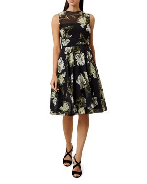 Hobbs London Ava Floral Print Fit-and-Flare Dress 2820258