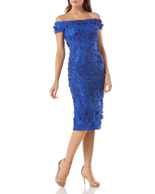 Carmen Marc Valvo Embellished Off-the-Shoulder Dress | Bloomingdale\'s