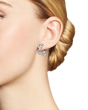 Roberto Coin - 18K White Gold Classic Parisienne Diamond Hoop Earrings - 100% Exclusive