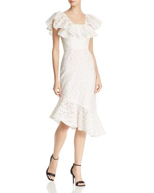 C/Meo More To Give Off The Shoulder Midi Dress, Ivory