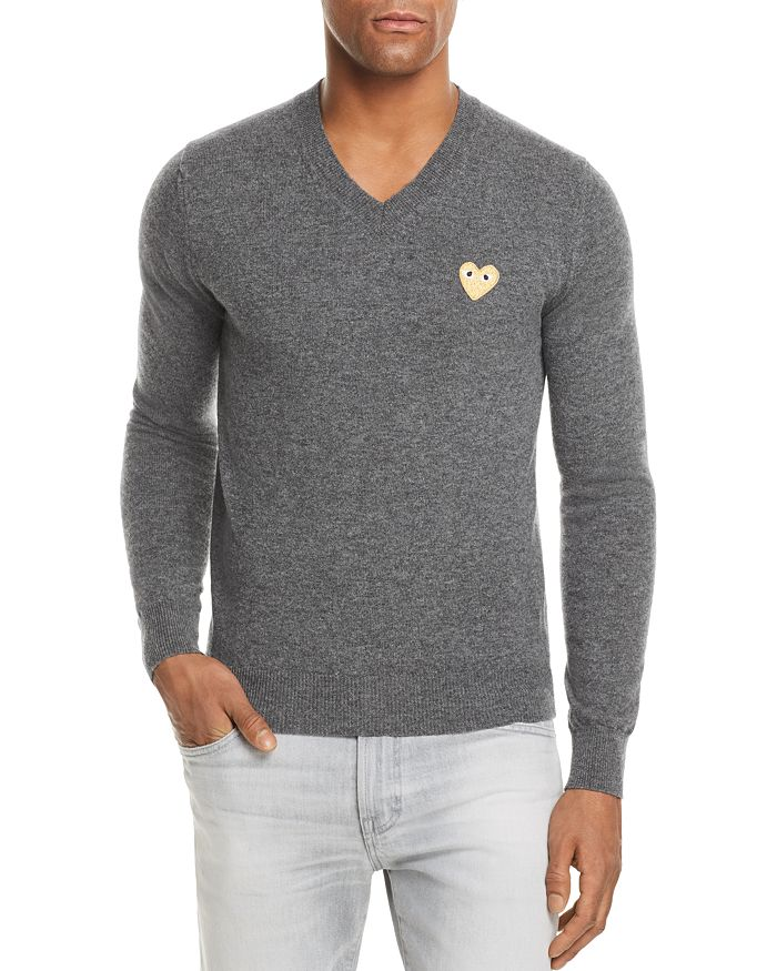 Comme Des Garcons PLAY - Gold Heart V-Neck Sweater