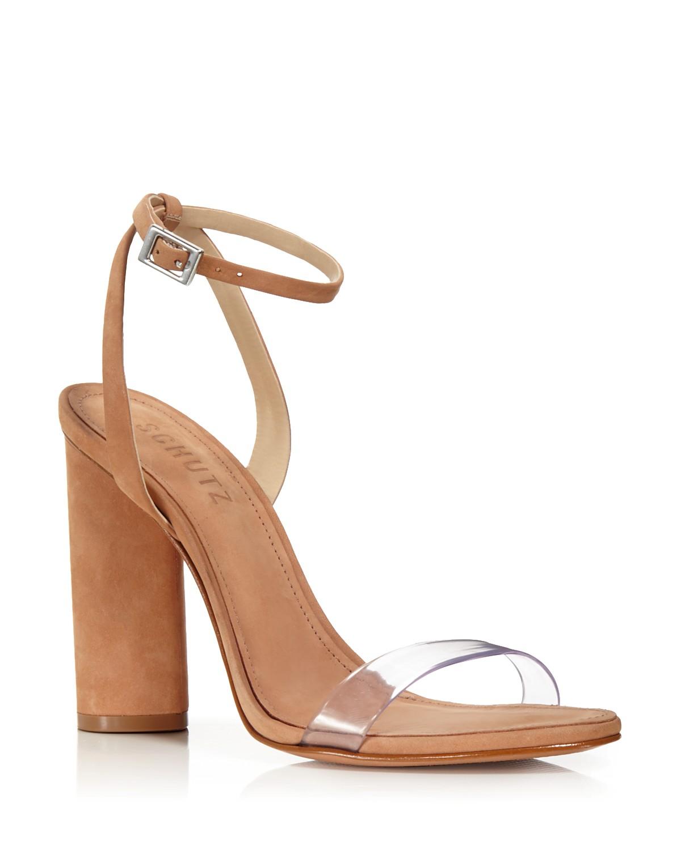 Schutz Women's Geisy Suede Illusion Ankle Strap Block Heel Sandals LM5h10
