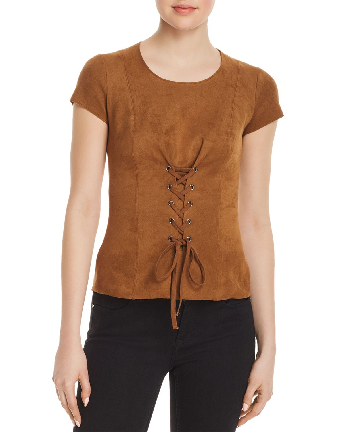 Ricochet Faux Suede Lace Up Top by Bailey 44