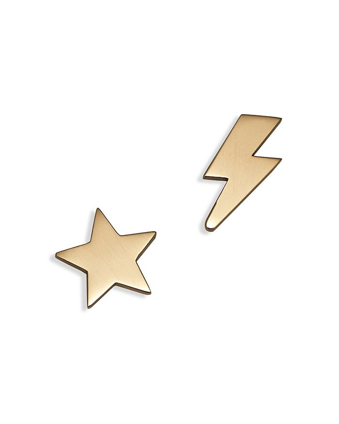 Zoë Chicco - 14K Yellow Gold Mixed Star & Lightning Bolt Stud Earrings