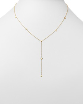Zoë Chicco - 14K Yellow Gold Itty Bitty Stars Y Necklace, 16""