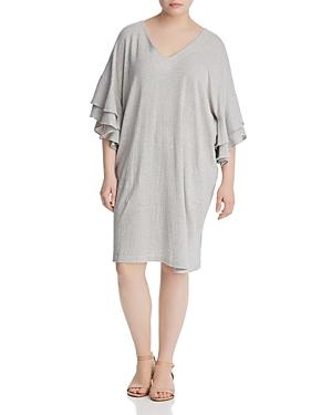 New Lucky Brand Plus Striped Ruffle-Sleeve Dress, White Multi